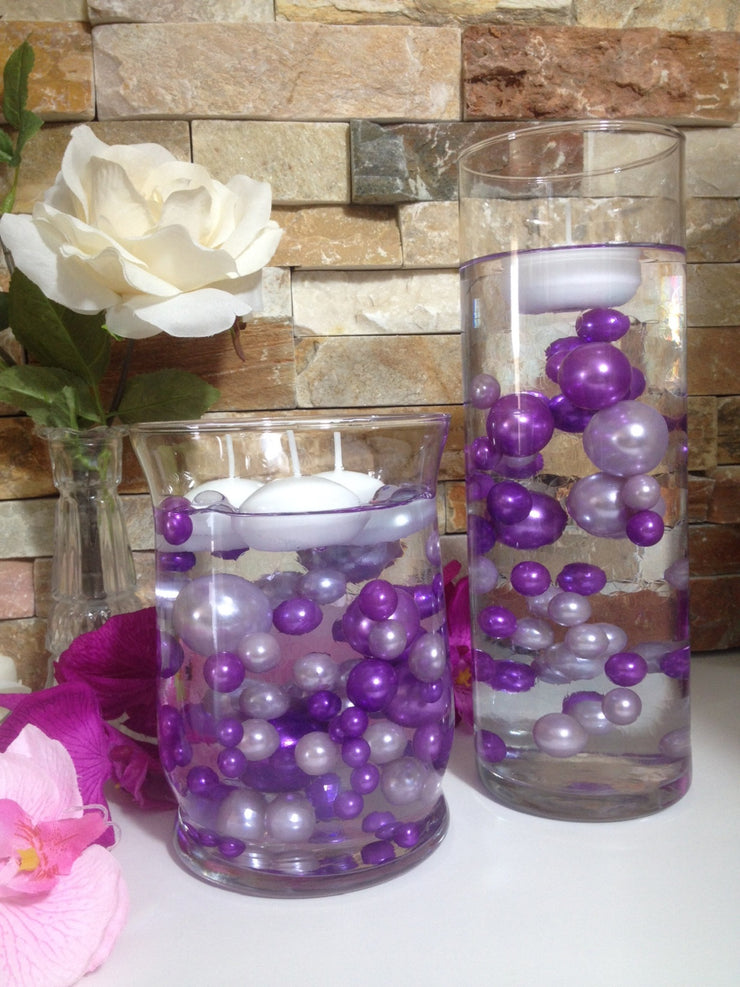 DIY Floating Pearl Centerpiece Vase Filler Pearls lilac/Purple Pearls 80 Jumbo & Mix Size Pearls, No Hole Pearls