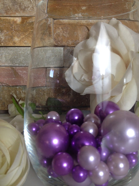 Purple And Lilac Pearls, Vase Filler Pearls, DIY Floating Pearl Centerpiece, Table Scatters And Confetti, Jumbo Mix Size Pearls