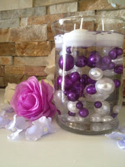 Vase Filler Pearls For Floating Pearl Centerpiece, Purple/White Pearls 80 Jumbo & Mix Size Pearls, No Hole Pearls