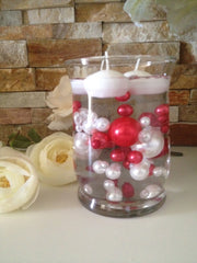 DIY Floating Pearl Centerpiece Vase Filler Pearls Red/White Pearls 80 Jumbo & Mix Size Pearls, No Hole Pearls