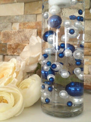 DIY Floating Pearl Centerpiece Vase Filler Pearls Royal Blue/White Pearls 80 Jumbo & Mix Size Pearls
