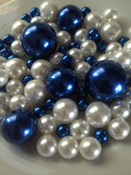 Royal Blue And White Pearls, Vase Filler Pearls, DIY Floating Pearl Centerpiece, Table Scatters And Confetti, Jumbo Mix Size Pearls