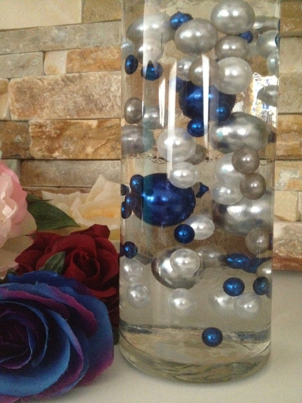 DIY Floating Pearl Centerpiece Vase Filler Pearls Royal Blue/White/Light Silver Pearls 80 Jumbo & Mix Size Pearls