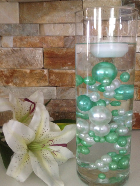 80 Seafoam Green/White Pearls, Jumbo & Mix Size Pearls, No Hole Pearls For Vase Fillers, Crafts, DIY Floating Pearls