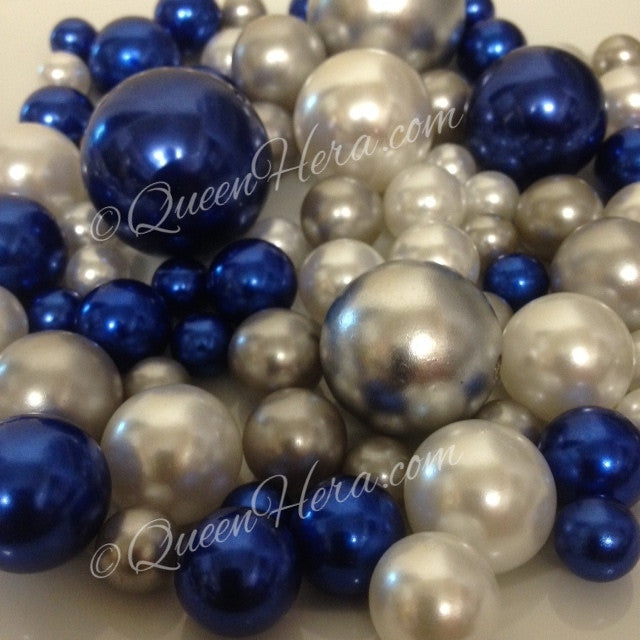 Vase Filler Pearls Royal Blue-Silver-White/80pc