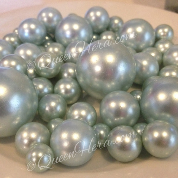Sky Blue Pearls Decorative Jumbo Vase Filler Pearls, Floating Pearl Centerpiece, Scatters, Confetti