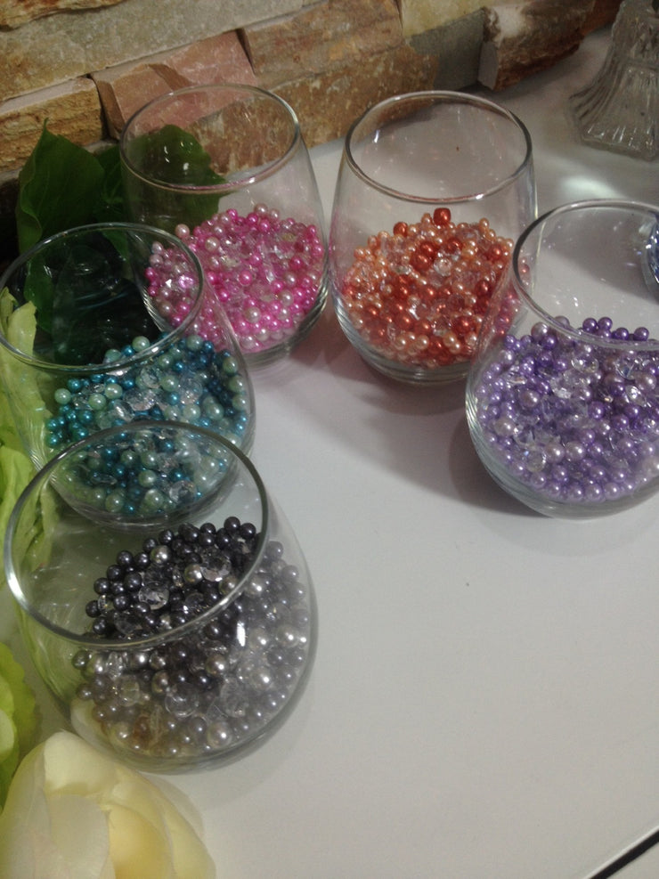 Diamonds And Pearls Table Scatter, Blush Pink & Pink Pearls, Clear Diamond Table Confetti, Vase Filler Pearls For Candles, Wine glass