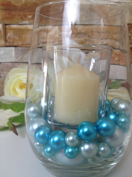 Teal Blue And Light Blue Pearls, Vase Filler Pearls, DIY Floating Pearl Centerpiece, Table Scatters And Confetti, Jumbo Mix Size Pearls