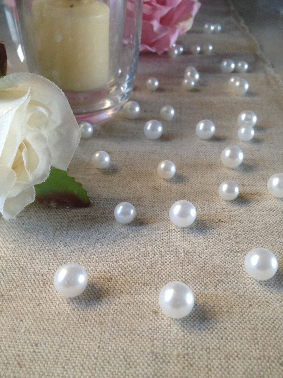 Vintage Table Pearl Scatters White Pearls For Wedding, Parties, Special Events Decor Table Confetti
