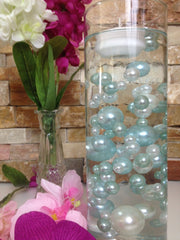 DIY Floating Pearl Centerpiece Vase Filler Pearls Light Blue/White Pearls 80 Jumbo & Mix Size Pearls, No Hole Pearls