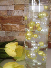 80 Yellow/White Pearls, Jumbo & Mix Size Pearls, No Hole Pearls For Vase Fillers, Crafts, DIY Floating Pearls