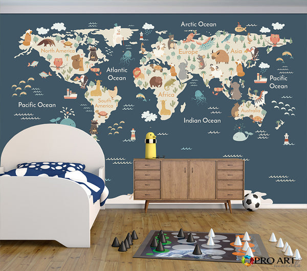 Animals of the World - Dark Blue - Full Wall Mural