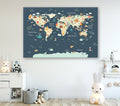 Animals of the World- Dark Blue Canvas