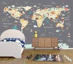 Animals of the World - Grey - Full Wall Mural
