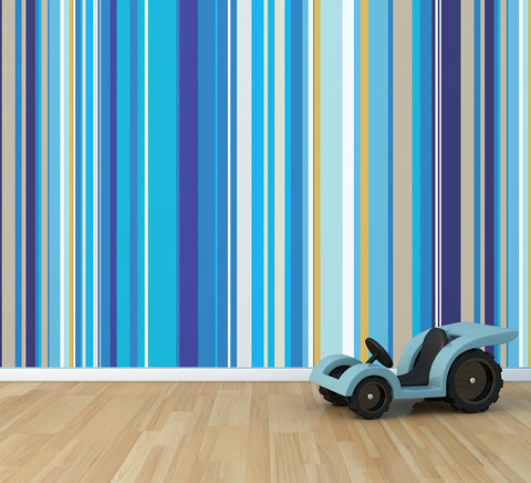 Blu Stripes - Full Wall Mural