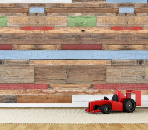 Coloured Timber - Full Wall Mural