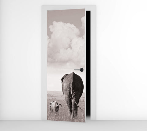 Elephants -  Door Mural