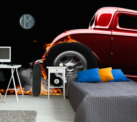 Flaming Hot Rod - Full Wall Mural