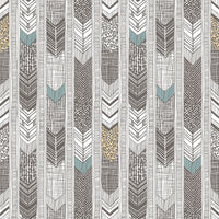 Native American Feather Stripes Black, Whites/Off Whites, Multi Colour Wallpaper