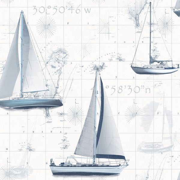 Yachts & Maps Design Wallpaper
