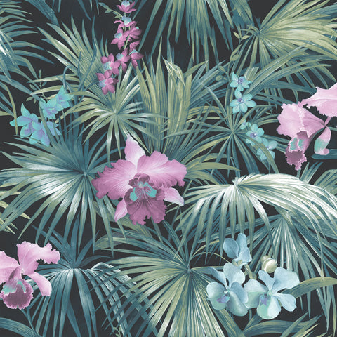 Tropical Palms & Orchids Purple Design Wallpaper