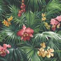 Tropical Palms & Orchids Pink Design Wallpaper