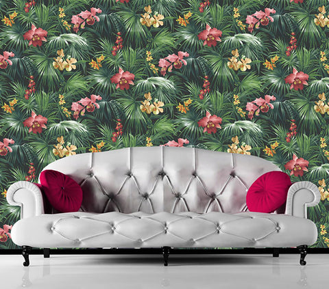 Tropical Palms & Orchids Green Design Wallpaper