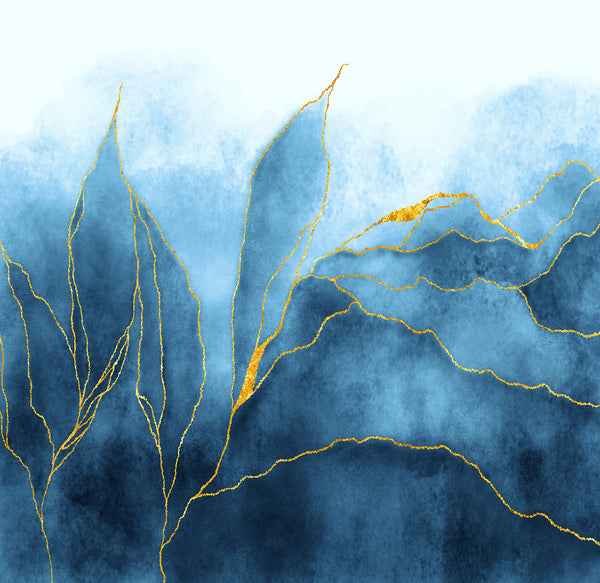 Golden River (Blue) - Full Wall Mural