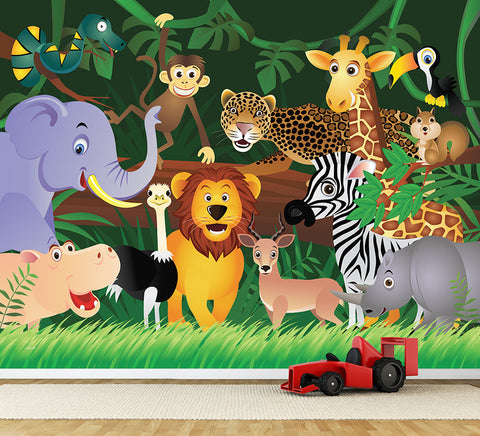 Jungle Friends - Full Wall Mural