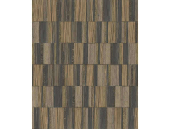Gilded Wood Tile Mixed Materials Wallpaper
