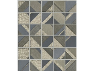 Patchwork Tile Greys Mixed Materials Wallpaper