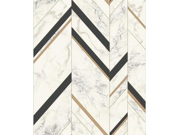 Marble Chevron Mixed Materials Wallpaper