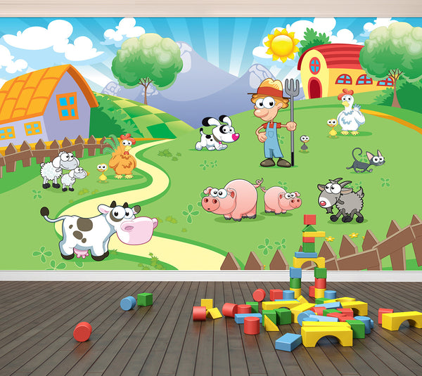 Out on the Farm - Full Wall Mural