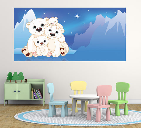 Polar Bears - Half Wall Mural