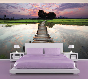 Reflection Jetty Pink - Full Wall Mural