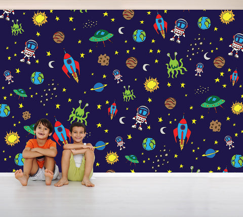 Spacemen and Rocketships - Full Wall Mural