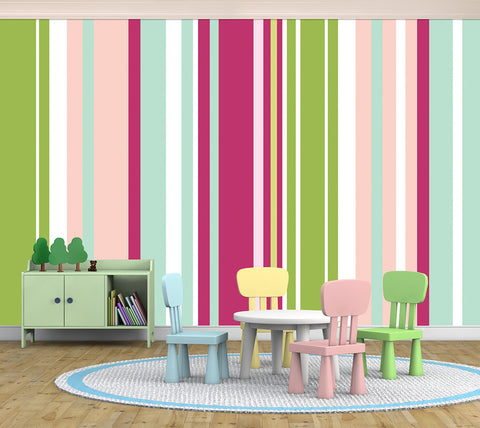 Stripes Assorted Green - Full Wall Mural