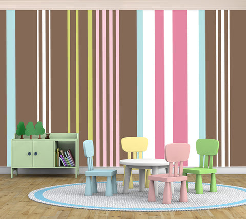 Stripes Assorted Brown - Full Wall Mural