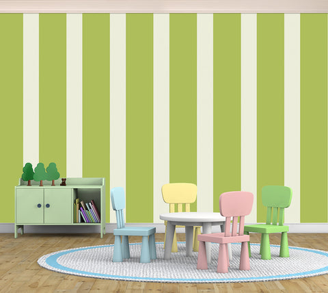 Stripes Assorted Big Green - Full Wall Mural