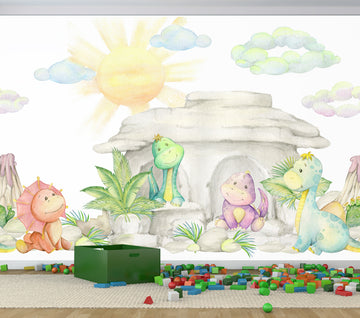 Watercolour Dinsosaur - Full Wall Mural