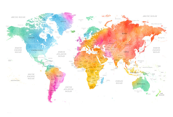 World Map - Colour - Full Wall Mural