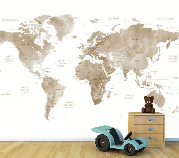 World Map - Sepia - Full Wall Mural