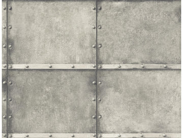 Metal Panel Wallpaper Grey
