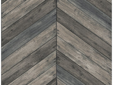 Chevron Wood Wallpaper Grey