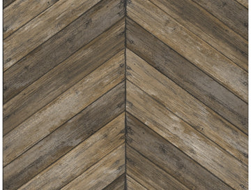 Chevron Wood Wallpaper Brown