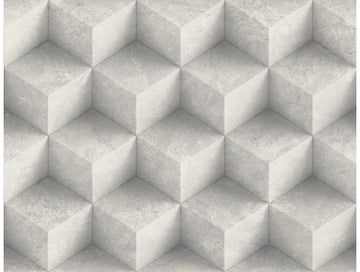 3D Concrete Diamonds Creme Modern Foundation Wallpaper