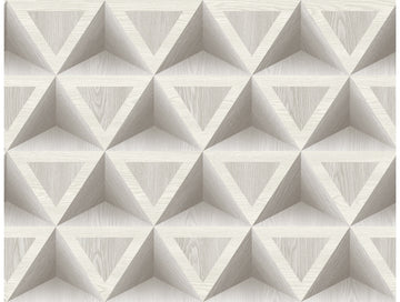 3D Wood Geometric White Grey Modern Foundation Wallpaper