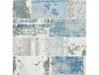 Distressed Tile Blue Modern Foundation Wallpaper