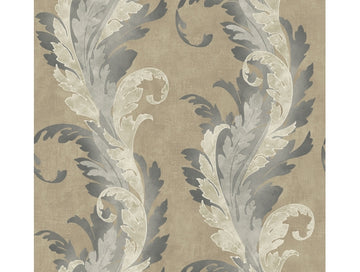 Feathered Scroll Suede Wallpaper