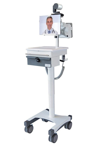 Powered telehealth medical carts for healthcare professionals